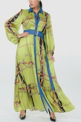 Bell Bottom Print Maxi Dress