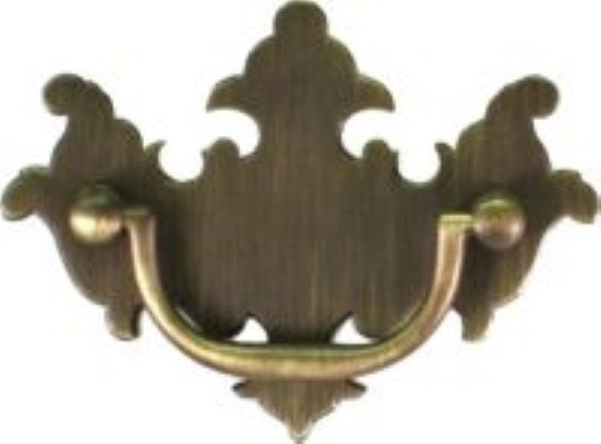Antique Brass Bail Bat Wing Chippendale Style Drawer Pull