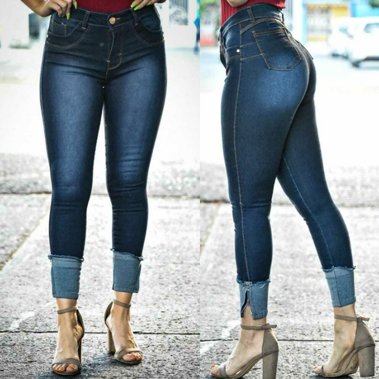 Pantalon mezclilla para dama tobillero corte a la cintura