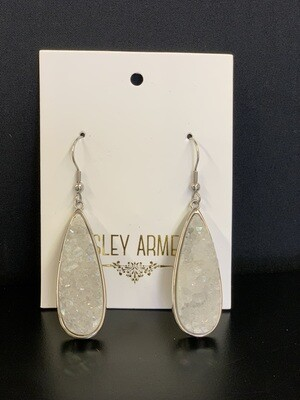 Druzy Silver Quartz Drop Earring