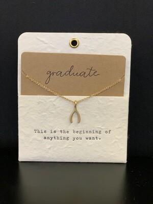Graduation Charm Necklace -wishbone