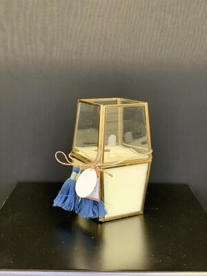 Blue Tassel Faceted Candle