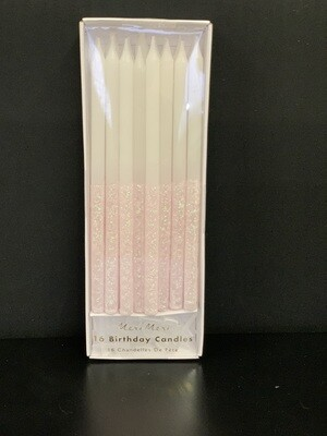 Pale Pink Glitter Dipped Candles