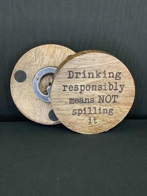 Responsibility Bottle Opener Coasters