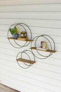 Wood Shelves w/Round Metal Frames-Set of 3