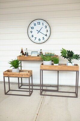 Rustic Wood Console Trays w/Metal Base- Set of 3