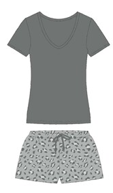 Grey Leopard Pajama Short Set
