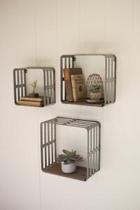 Set of 3 Metal/Wood Shelf Crates
