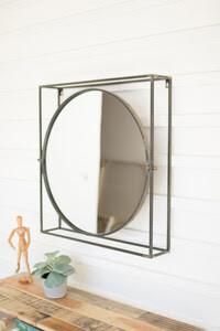 Round Mirror -Square Metal Frame