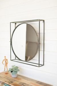 Round Mirror -Square Metal Frame