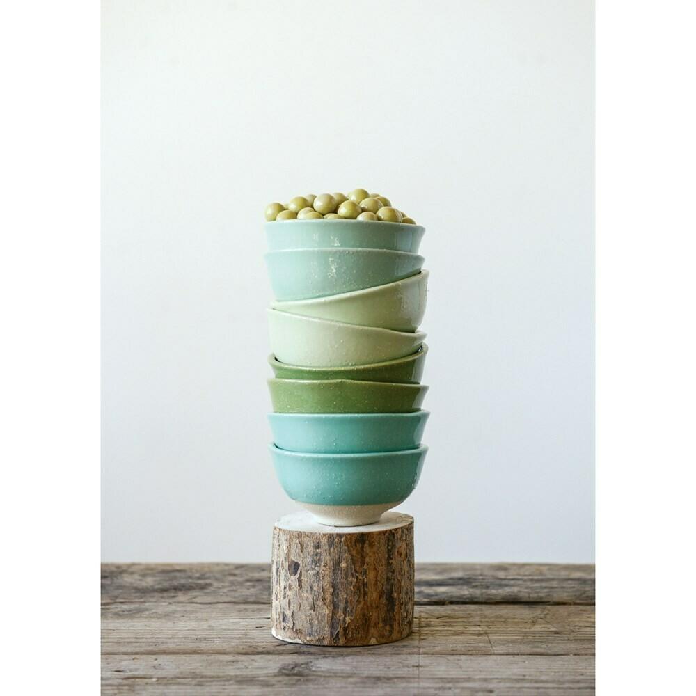 Stoneware Bowls - Green and Natural