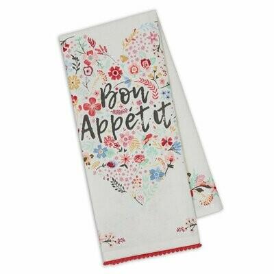 Bon Appitit Fleur Heart Embellished Dishtowel