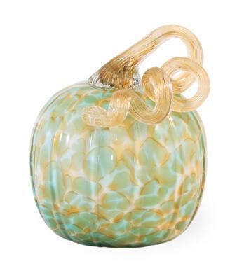 Green & Gold Small Glass Pumpkin
