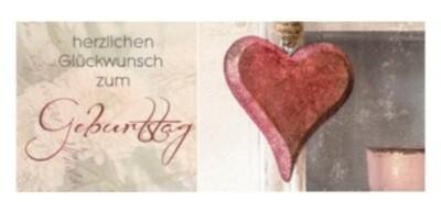 Geburtstag Holzherz Faltkarte lang (7x14,5)