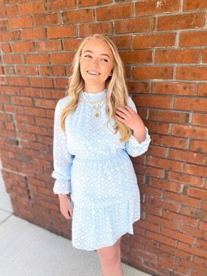 Baby Blue Ruffle Neck Dress