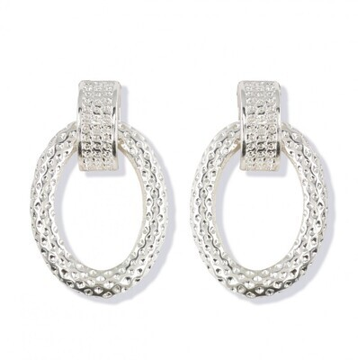 Clip Earrings Silver Crystal
