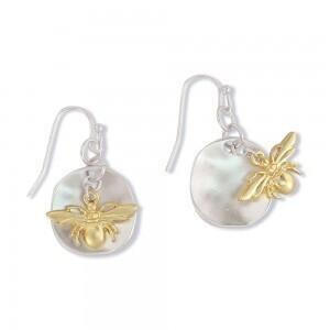 Earrings two tone bees