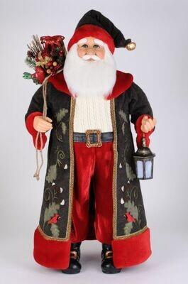 Lighted Woodland Cardinal Santa