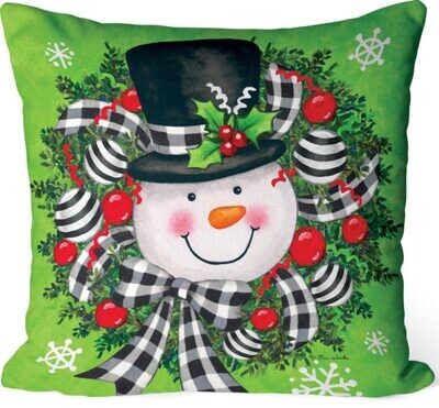 Snowman Wreath Pillow