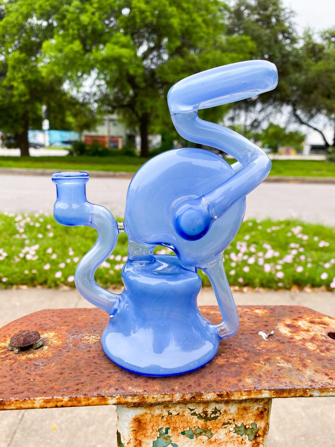 Doom Glass 10mm Blue Recycler Rig
