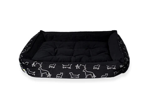 "COZY BED - BLACK DOGGIES - 34""x27"""