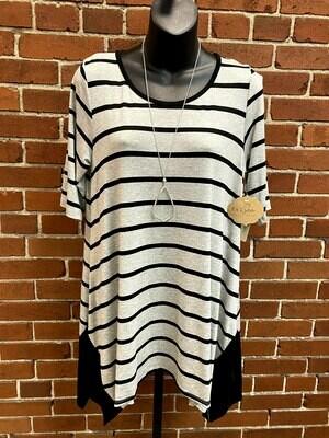 Grey & Black Striped Sharkbite Tunic