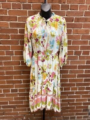 Ivory Mix Floral Midi Dress