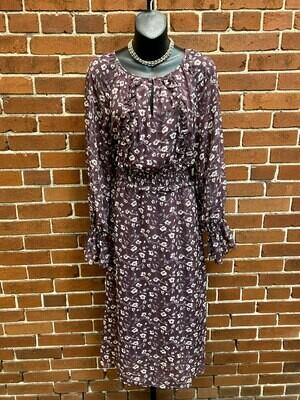 Plum Floral Midi Dress