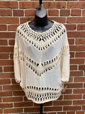 Favlux Cream Crochet Blouse