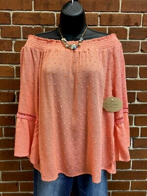 Coral Swiss Dot Smocked Neck Blouse