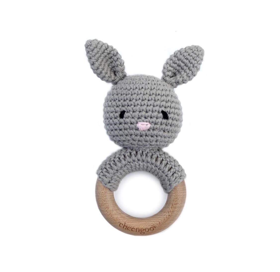 Bunny Rattle Teether- Grey