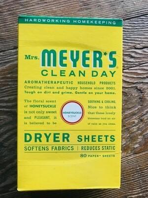 Mrs Meyer Dryer Sheets Honeysuckle