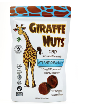 Giraffe Nuts 15mg CBD Caramels Atlantic Sea Salt, 10 Pack