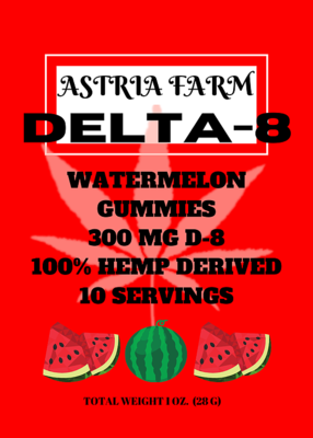 Delta 8 Watermelon 300 mg Gummies, 10 pack