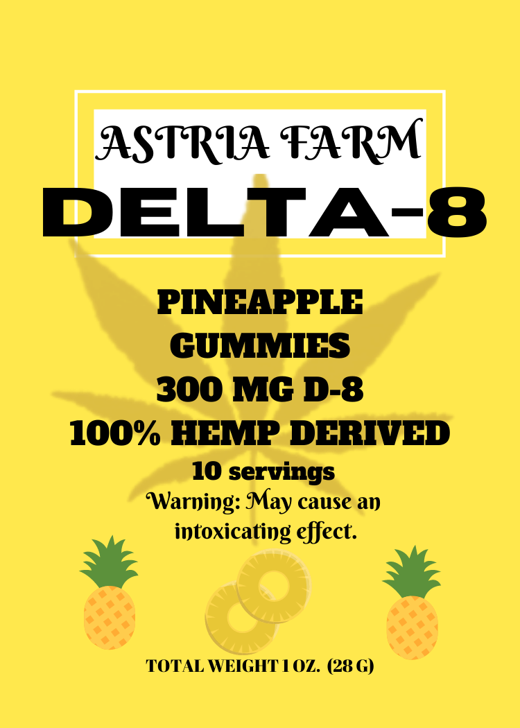 Delta 8 Pineapple 300 mg Gummies, 10 pack