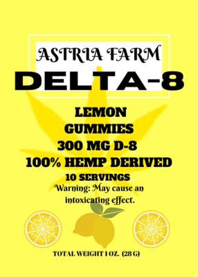 Delta 8 Lemon 300 mg Gummies, 10 pack