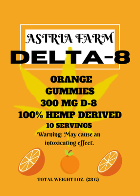 Delta 8 Orange 300 mg Gummies, 10 pack