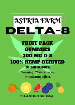 Delta 8 Fruit Mix 300mg Gummies, 10 pack