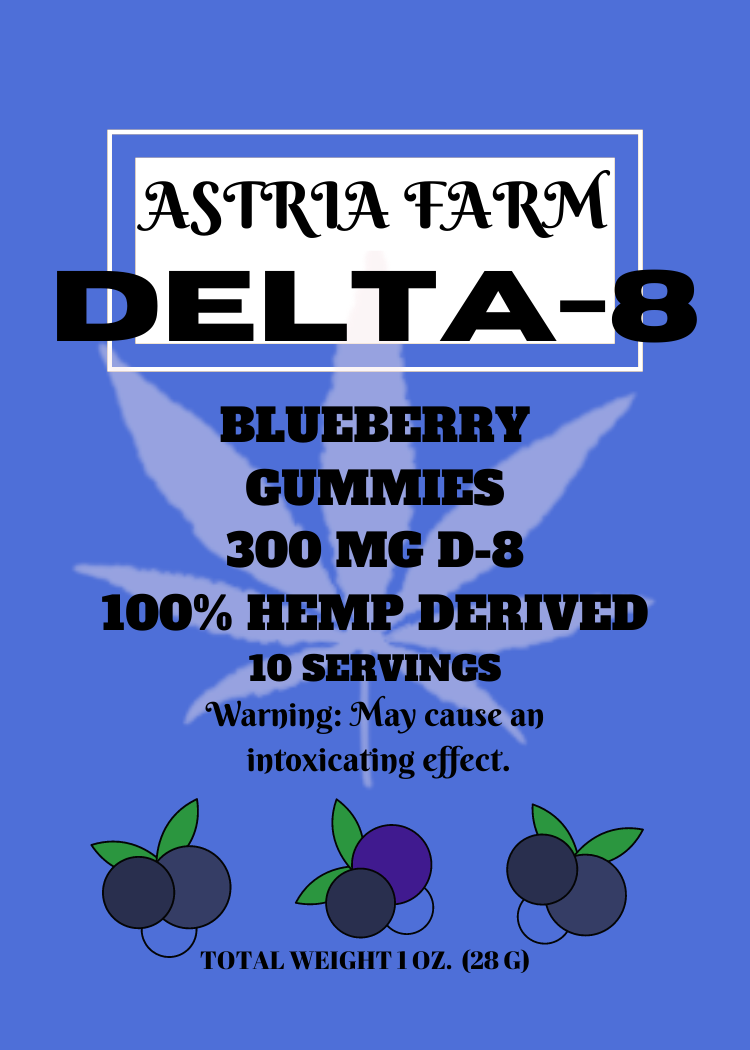 Delta 8 Blueberry 300mg Gummies, 10 pack