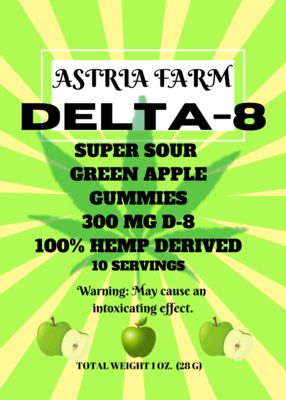 Delta 8 Sour Apple 300mg Gummies, 10 pack