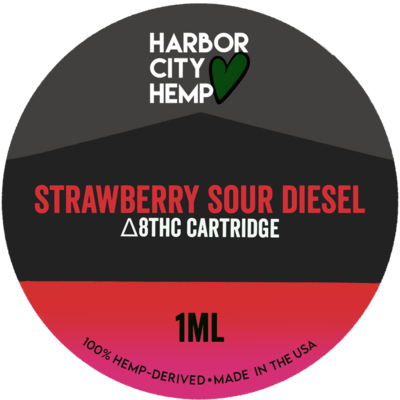 Harbor City Hemp Delta 8 vape 1ml Strawberry Sour Diesel