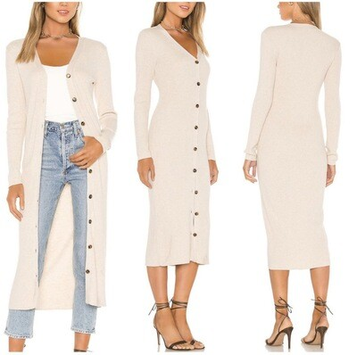 Cream Ribbed Duster