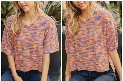 Orange Knit SS Sweater