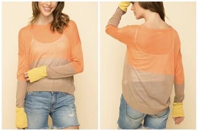 Orange Color-Block Sweater