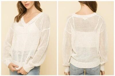 Ivory Knit V-Neck
