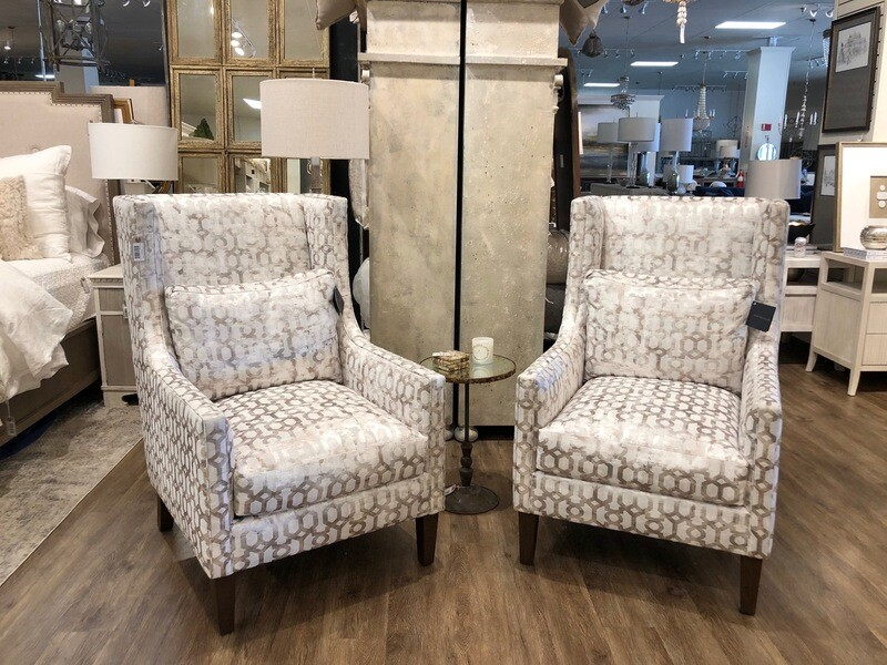High-Back Wing Chair in Patterned Material