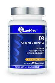 D3 - Organic Coconut Oil (120 Softgels) | CanPrev
