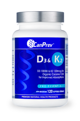 D3 & K2 - Organic Coconut Oil (120 Softgels) | CanPrev