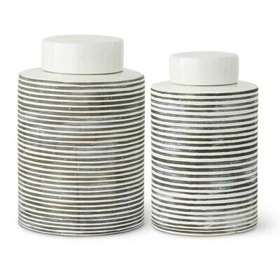KKI Sm White/Gray ceramic Crackle Jar