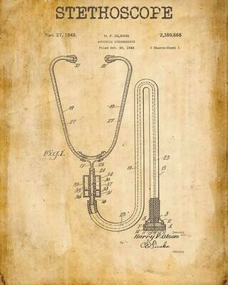 Stethoscope Patent Metal Sign